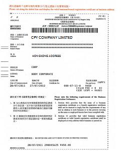 Br Business Registration Certificate
